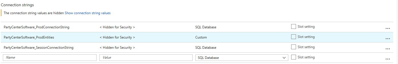 Azure Connection Strings