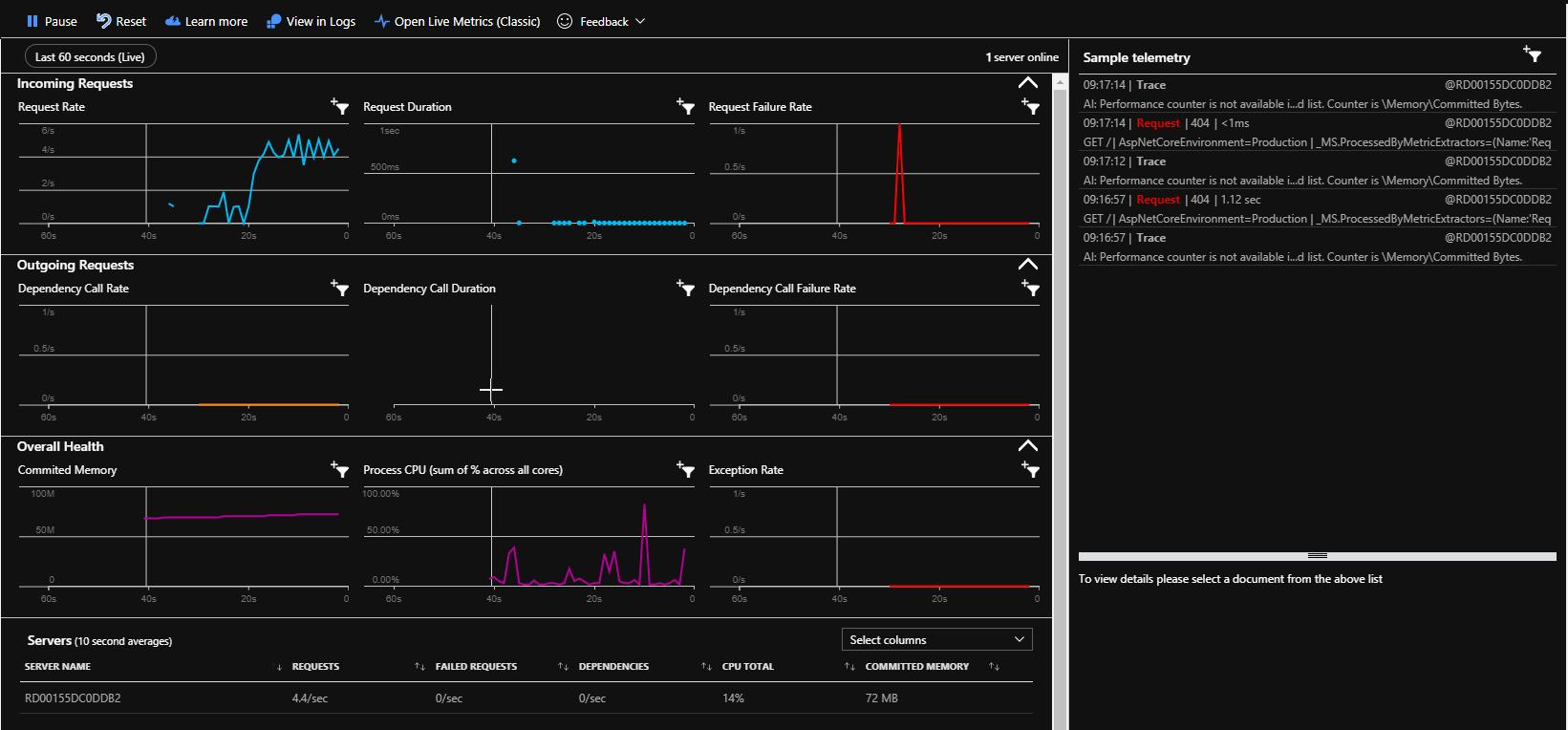 Azure Application Insights - Live Metrics Stream Sample Telemetry