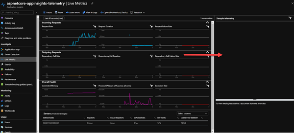 Azure Application Insights - Live Metrics Stream Sample Telemetry